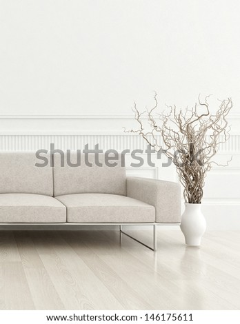 3d rendering of modern beige couch in a white living room interior - stock photo