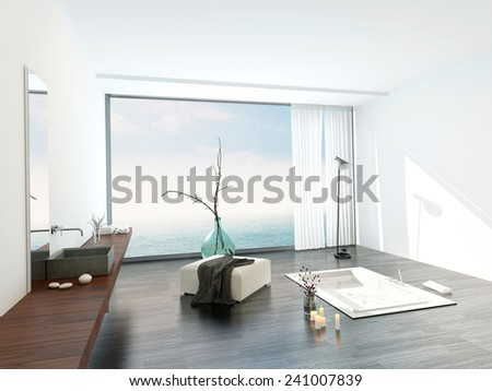 3D Rendering of Modern bright white bathroom interior with a large view window overlooking a stylish sunken bathtub and ottoman with a wall-mounted vanity on the side in a luxury apartment - stock photo