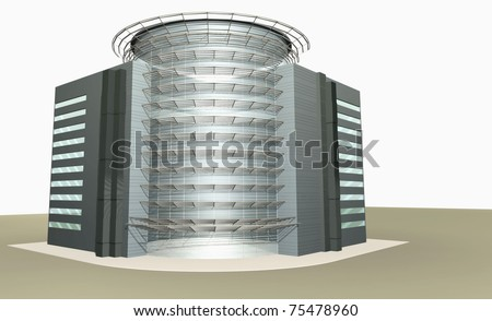 3D rendering of modern building with glass facade
