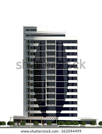 3d rendering of modern conceptual business centre building isolated on white, facade - stock photo