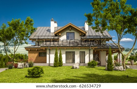 Old farmhouse house plants on front stock photo 23253613 for Chalet style homes for sale