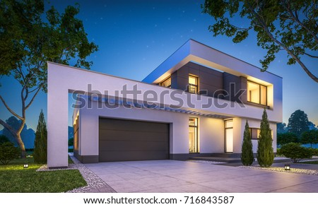3 d rendering modern cozy house garageのイラスト素材 716843587