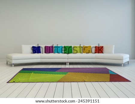 3D Rendering of Modern curved white couch with colorful cushions in the colors of the rainbow or spectrum with a matching multicolored carpet on a painted white parquet floor, grey wall behind - stock photo