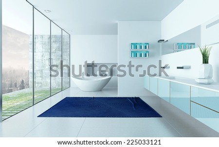 3D Rendering of Modern design white bathroom interior with blue carpet and floor to ceiling windows - stock photo