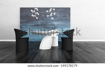 3D rendering of modern dining room interior - stock photo
