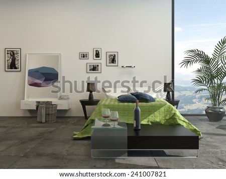 3D Rendering of Modern grey and white bedroom interior with a green accent counterpane on the bed and a potted palm in front of a large view window - stock photo