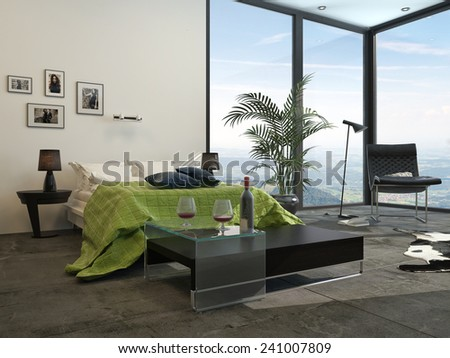 3D Rendering of Modern grey and white decor hotel bedroom interior with welcoming wine on a table at the end of the bed which has a green accent counterpane , cabinets a potted palm - stock photo