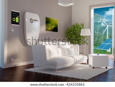 3d rendering of modern house interior with independent energy storage battery system. - stock photo