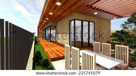 3D rendering of modern house  terrace - stock photo