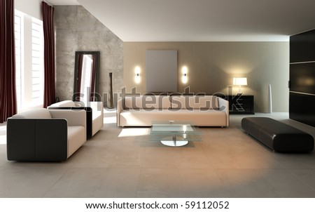 3D rendering of modern living room interior.
