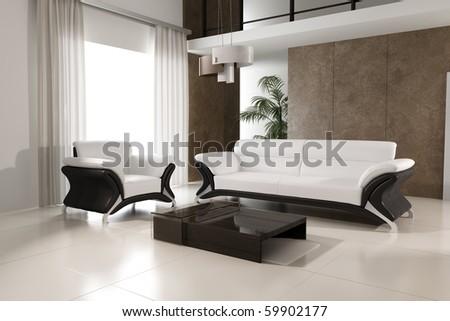 3d rendering of modern living room interior - stock photo