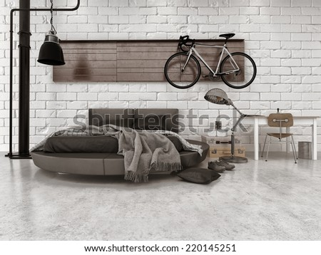3D Rendering of Modern Loft Style Bedroom in Apartment with Furnishings, Round Bed, and Bicycle Hanging on Wall - stock photo
