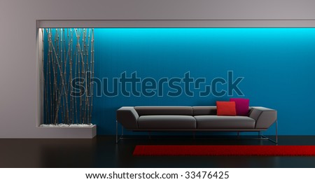 3d rendering of modern lounge room - stock photo