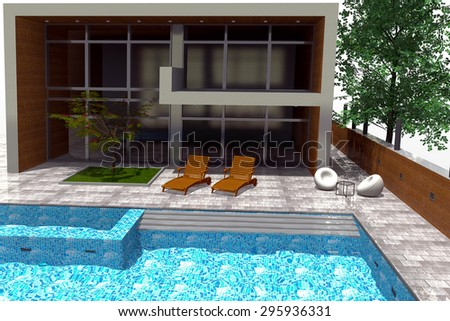 3D rendering of modern mansion with swimming pool