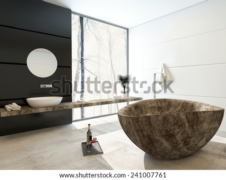 3D Rendering of Modern marbled bathtub in a luxury bathroom with black and white decor and a large floor-to-ceiling view window allowing in lots of bright daylight - stock photo