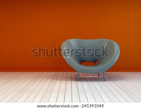3D Rendering of Modern minimalist interior decor or design background with a stylish tub chair against a burnt orange wall on a bare white painted wooden parquet floor with copyspace - stock photo