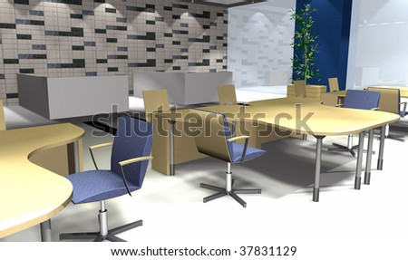 3D rendering of modern office interior with spot lights