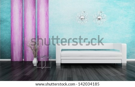 3d rendering of Modern white couch in front of colorful wall - stock photo