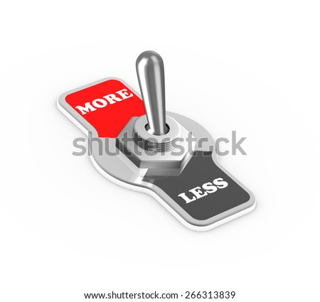 3d rendering of more less toggle switch button flipped in the more position - stock photo