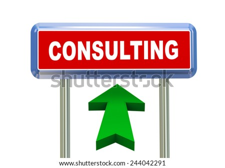 3d rendering of moving arrow and roadsign signpost of concept of consulting - stock photo