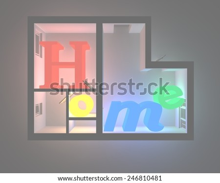 3d rendering of neon enlightened 'Home' letters inside 3d plan  apartment - stock photo