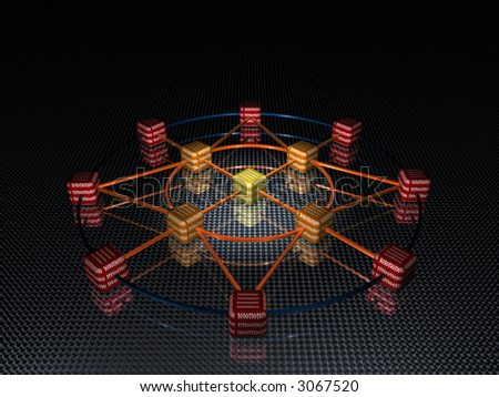 3d rendering of network - stock photo