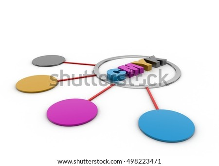 3d rendering of Network with cmyk colour