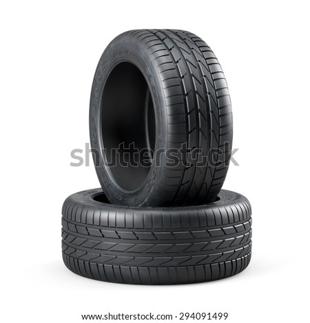 3d rendering of new unused car tires isolated on white background - stock photo