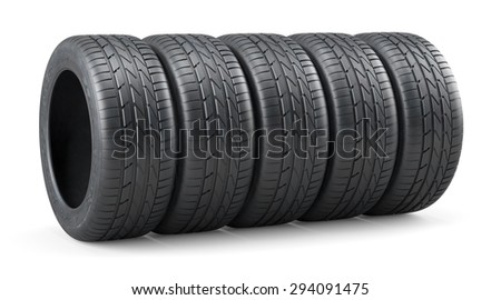 3d rendering of new unused car tires row isolated on white background - stock photo