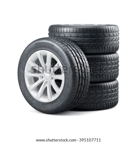 3d rendering of new unused car tires with rims isolated on white background - stock photo