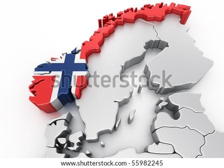 3d rendering of Norway - stock photo