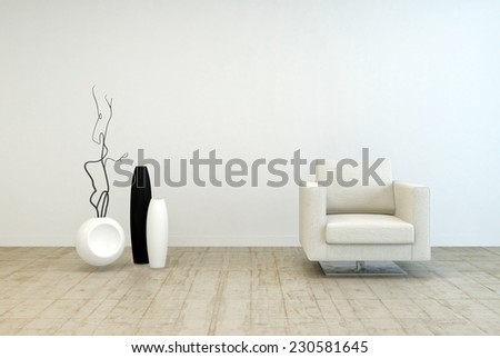 3D Rendering of Off White Single Chair Furniture and Vase Decors at Elegant Living Room with White Wall and Wooden Floor. - stock photo