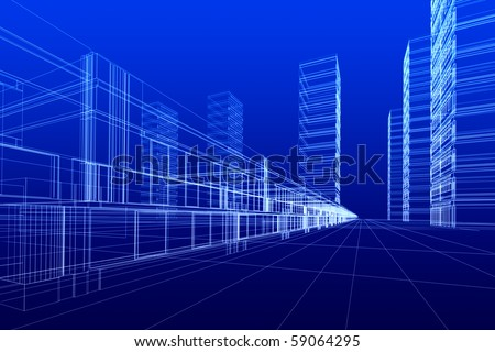 3D rendering of office buildings on blue background. Concept - modern city and modern architecture. - stock photo