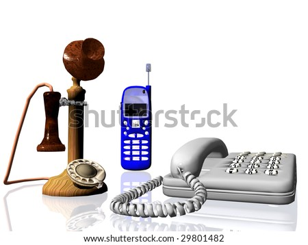 3D rendering of old and new telephones a concept of evolution to modern times, white background, reflective surface - stock photo