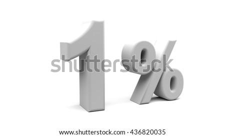 3D rendering of One Percent text in big letters on a white background.