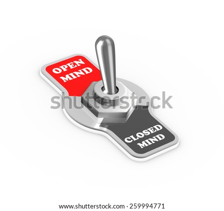 3d rendering of open mind and closed mind toggle switch button flipped in the open mind position - stock photo