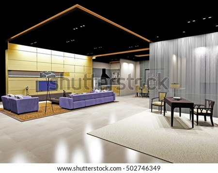 3d rendering of open space modern living room