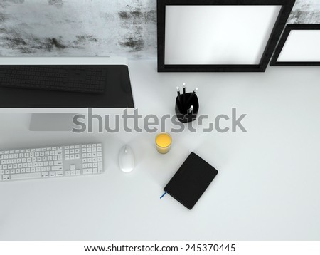 3D Rendering of Overhead view of a neat office desk with a modern desktop computer and keyboard, picture frames, diary pencils and glass of orange juice - stock photo