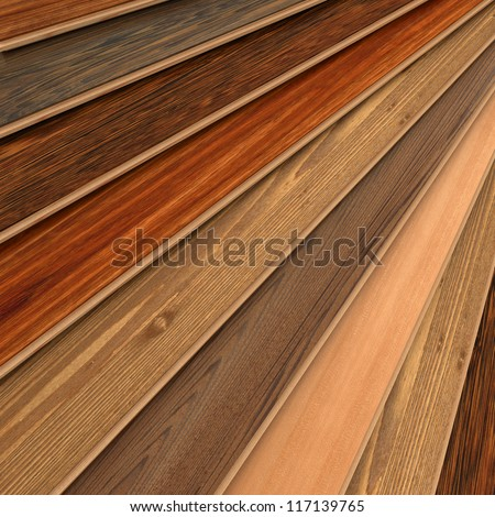 3D rendering of parquet strips in different types of woods - stock photo