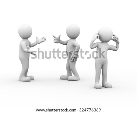 3d rendering of people fighting, another person putting fingers in his ears. Conflict dispute between couple concept.
