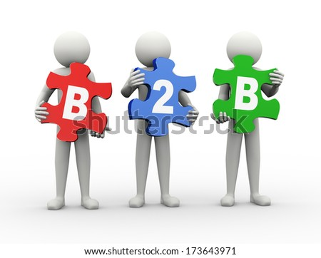 3d rendering of people holding puzzle pieces of b2b - business to business. 3d white people man character. - stock photo