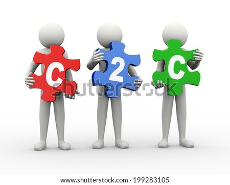 3d rendering of people holding puzzle pieces of c2c  - client to client. 3d white people man character - stock photo