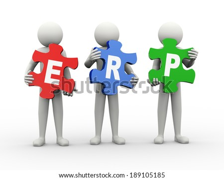 3d rendering of people holding puzzle pieces of erp - enterprise resource planning. 3d white people man character.