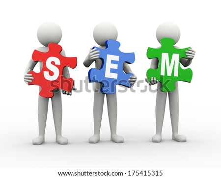 3d rendering of people holding puzzle pieces of sem -  search engine marketing. 3d white people man character - stock photo