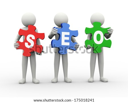 3d rendering of people holding puzzle pieces of seo - search engine optimization. 3d white people man character - stock photo