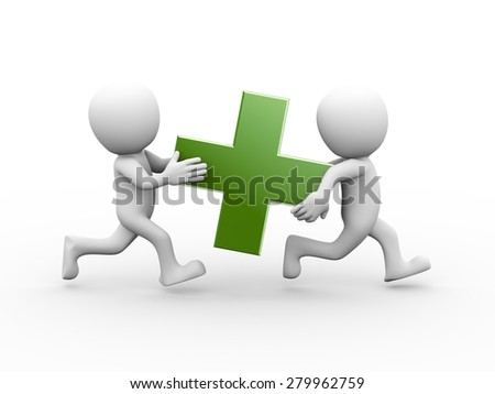3d rendering of people running and carrying green plus sign symbol.  3d white person people man - stock photo