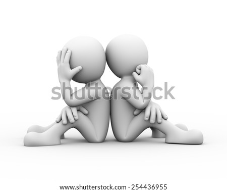 3d rendering of people sitting back to back. Presentation of family problem, people conflict and dispute. 3d white person people man - stock photo