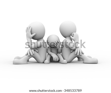 3d rendering of people sitting back with child. Presentation of family problem, conflict and dispute. - stock photo