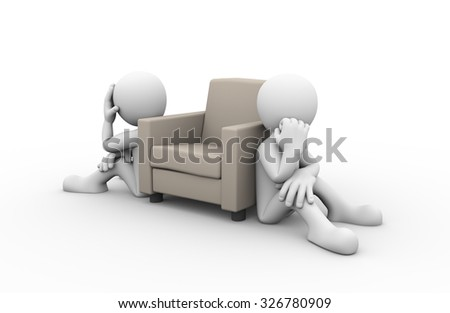 3d rendering of people sitting near sofa showing concept of family problem, conflict and dispute