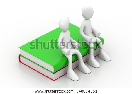 3D rendering of people sitting on the books